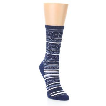 Image of Navy Stripe Wool Women's Casual Socks (side-1-front-02)