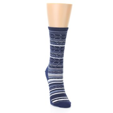Image of Navy Stripe Wool Women's Casual Socks (side-1-front-03)
