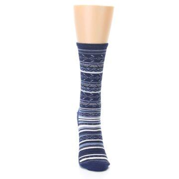 Image of Navy Stripe Wool Women's Casual Socks (front-04)