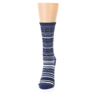 Image of Navy Stripe Wool Women's Casual Socks (side-2-front-06)