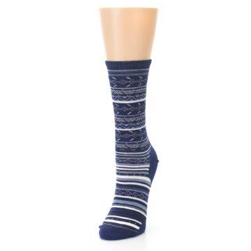 Image of Navy Stripe Wool Women's Casual Socks (side-2-front-07)