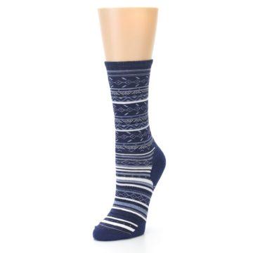 Image of Navy Stripe Wool Women's Casual Socks (side-2-front-08)