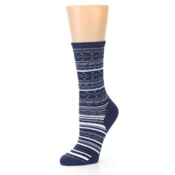 Image of Navy Stripe Wool Women's Casual Socks (side-2-09)