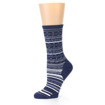 Image of Navy Stripe Wool Women's Casual Socks (side-2-10)