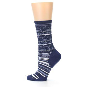 Image of Navy Stripe Wool Women's Casual Socks (side-2-12)