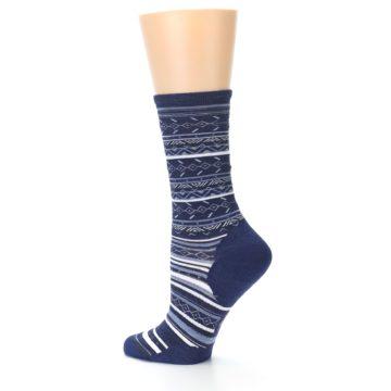 Image of Navy Stripe Wool Women's Casual Socks (side-2-13)