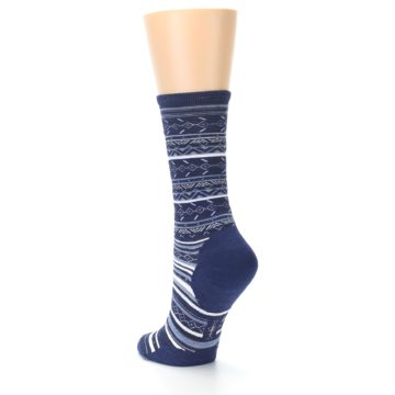 Image of Navy Stripe Wool Women's Casual Socks (side-2-back-15)