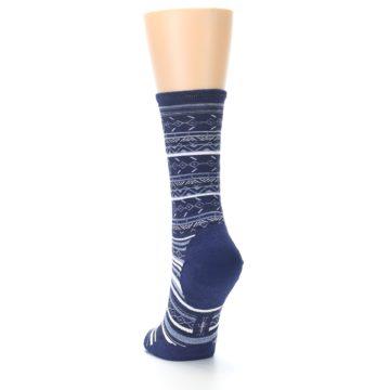 Image of Navy Stripe Wool Women's Casual Socks (side-2-back-16)