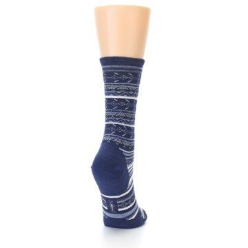 Image of Navy Stripe Wool Women's Casual Socks (side-1-back-20)