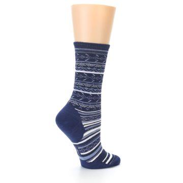 Image of Navy Stripe Wool Women's Casual Socks (side-1-23)