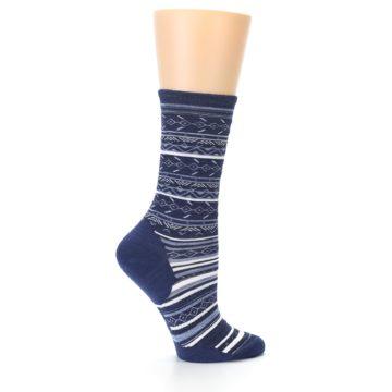 Image of Navy Stripe Wool Women's Casual Socks (side-1-24)