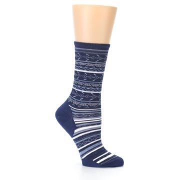 Image of Navy Stripe Wool Women's Casual Socks (side-1-25)