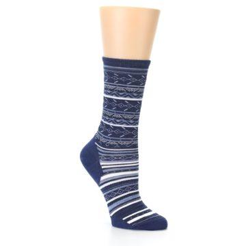 Image of Navy Stripe Wool Women's Casual Socks (side-1-26)