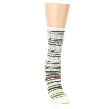 Image of Cream Green Stripe Wool Women's Casual Socks (side-1-front-02)