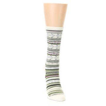 Image of Cream Green Stripe Wool Women's Casual Socks (side-1-front-03)