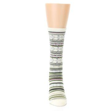 Image of Cream Green Stripe Wool Women's Casual Socks (front-04)