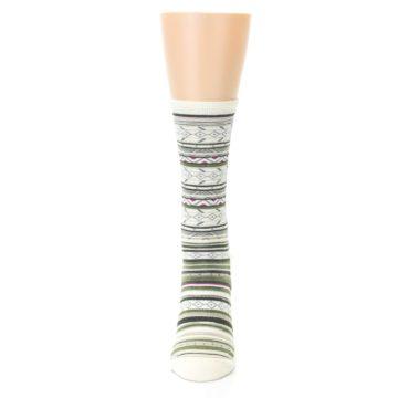 Image of Cream Green Stripe Wool Women's Casual Socks (front-05)