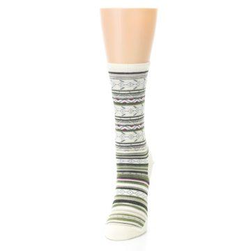 Image of Cream Green Stripe Wool Women's Casual Socks (side-2-front-06)