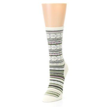 Image of Cream Green Stripe Wool Women's Casual Socks (side-2-front-07)