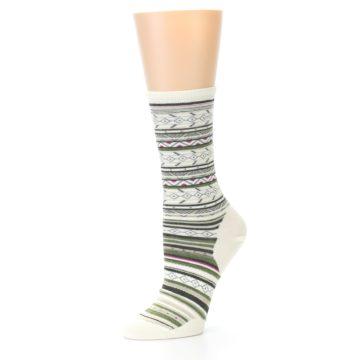 Image of Cream Green Stripe Wool Women's Casual Socks (side-2-09)