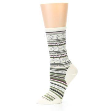 Image of Cream Green Stripe Wool Women's Casual Socks (side-2-10)