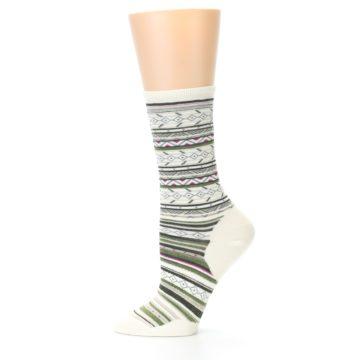 Image of Cream Green Stripe Wool Women's Casual Socks (side-2-11)