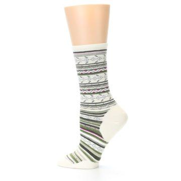 Image of Cream Green Stripe Wool Women's Casual Socks (side-2-12)