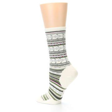 Image of Cream Green Stripe Wool Women's Casual Socks (side-2-13)