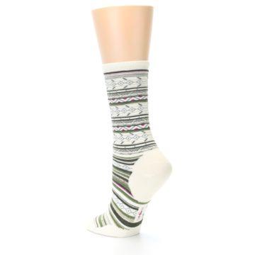 Image of Cream Green Stripe Wool Women's Casual Socks (side-2-back-14)