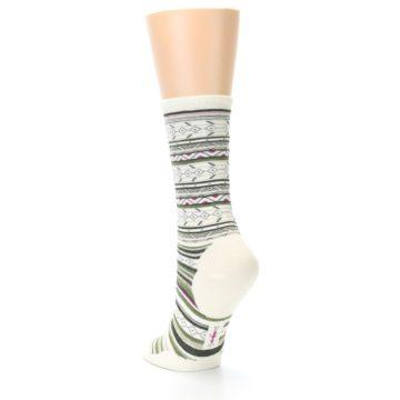 Image of Cream Green Stripe Wool Women's Casual Socks (side-2-back-15)