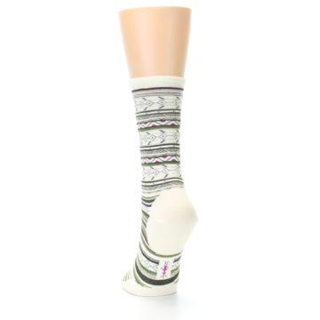 Image of Cream Green Stripe Wool Women's Casual Socks (side-2-back-16)