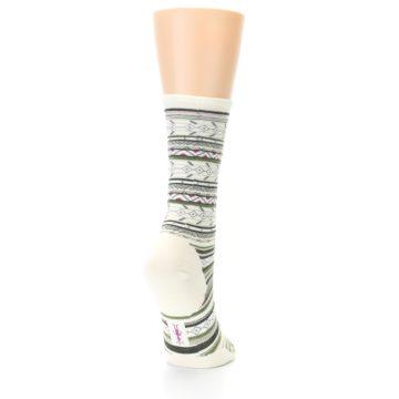 Image of Cream Green Stripe Wool Women's Casual Socks (side-1-back-20)