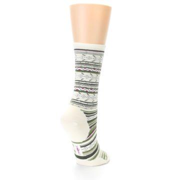 Image of Cream Green Stripe Wool Women's Casual Socks (side-1-back-21)