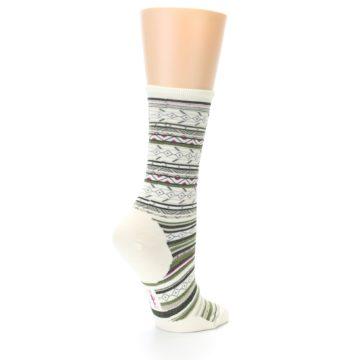 Image of Cream Green Stripe Wool Women's Casual Socks (side-1-back-22)