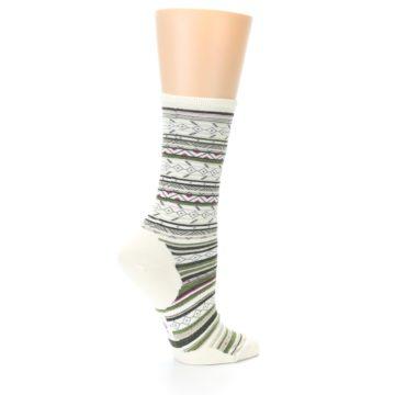 Image of Cream Green Stripe Wool Women's Casual Socks (side-1-23)