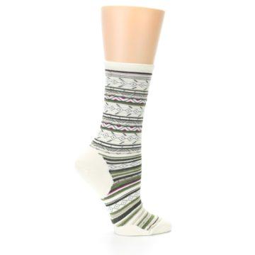 Image of Cream Green Stripe Wool Women's Casual Socks (side-1-24)