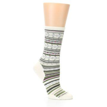 Image of Cream Green Stripe Wool Women's Casual Socks (side-1-25)
