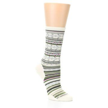 Image of Cream Green Stripe Wool Women's Casual Socks (side-1-26)