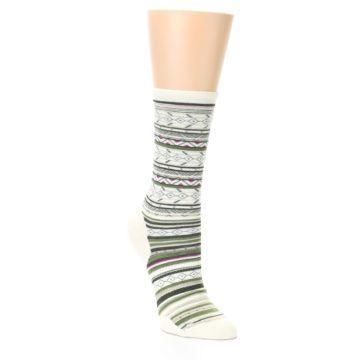 Image of Cream Green Stripe Wool Women's Casual Socks (side-1-27)