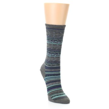 Image of Taupe Blue Stripe Wool Women's Casual Socks (side-1-front-02)
