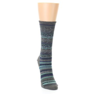 Image of Taupe Blue Stripe Wool Women's Casual Socks (side-1-front-03)