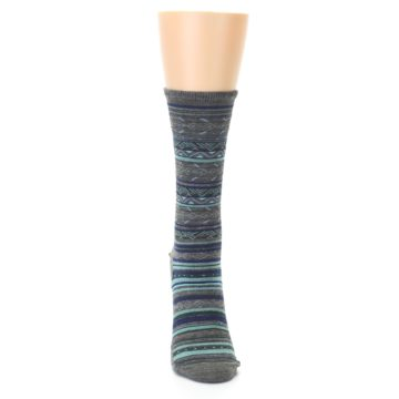 Image of Taupe Blue Stripe Wool Women's Casual Socks (front-04)