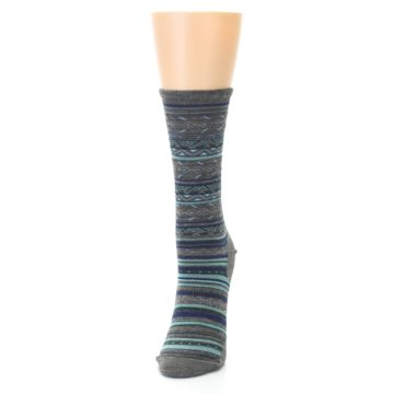 Image of Taupe Blue Stripe Wool Women's Casual Socks (side-2-front-06)