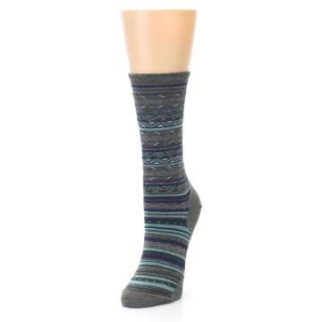 Image of Taupe Blue Stripe Wool Women's Casual Socks (side-2-front-07)