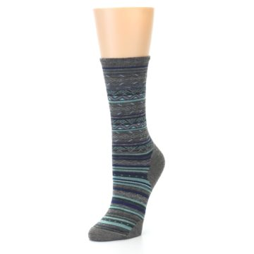 Image of Taupe Blue Stripe Wool Women's Casual Socks (side-2-front-08)