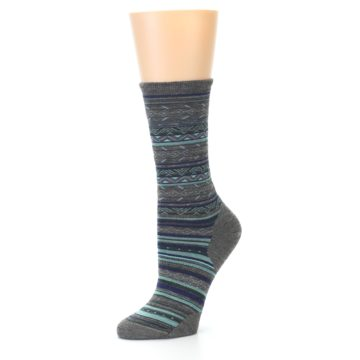 Image of Taupe Blue Stripe Wool Women's Casual Socks (side-2-09)