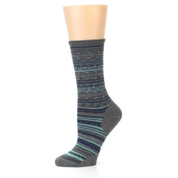 Image of Taupe Blue Stripe Wool Women's Casual Socks (side-2-10)