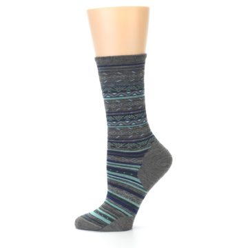 Image of Taupe Blue Stripe Wool Women's Casual Socks (side-2-11)