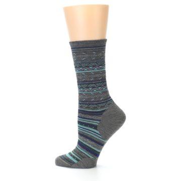 Image of Taupe Blue Stripe Wool Women's Casual Socks (side-2-12)
