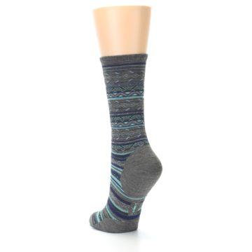 Image of Taupe Blue Stripe Wool Women's Casual Socks (side-2-back-15)